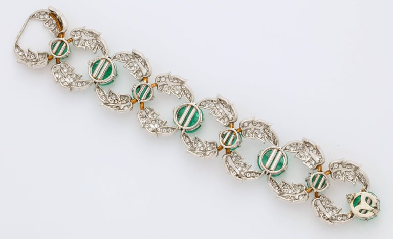 Women's Jean Schlumberger for Tiffany & Co. Carved Emerald Diamond Gold Set For Sale
