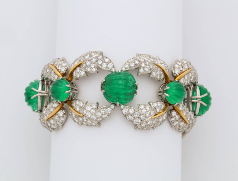 Jean Schlumberger for Tiffany & Co. Carved Emerald Diamond Gold Set For Sale 1