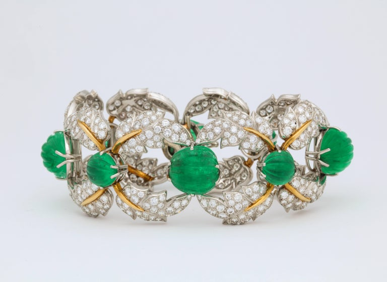 Jean Schlumberger for Tiffany & Co. Carved Emerald Diamond Gold Set For Sale 3