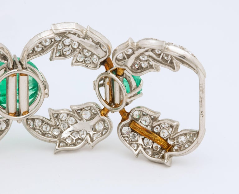 Jean Schlumberger for Tiffany & Co. Carved Emerald Diamond Gold Set For Sale 4