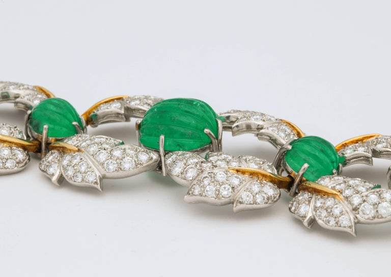 Jean Schlumberger for Tiffany & Co. Carved Emerald Diamond Gold Set For Sale 5
