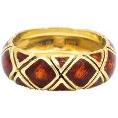 Tiffany & Co. 18 Karat Gold and Red Enamel Ring, circa 1960s