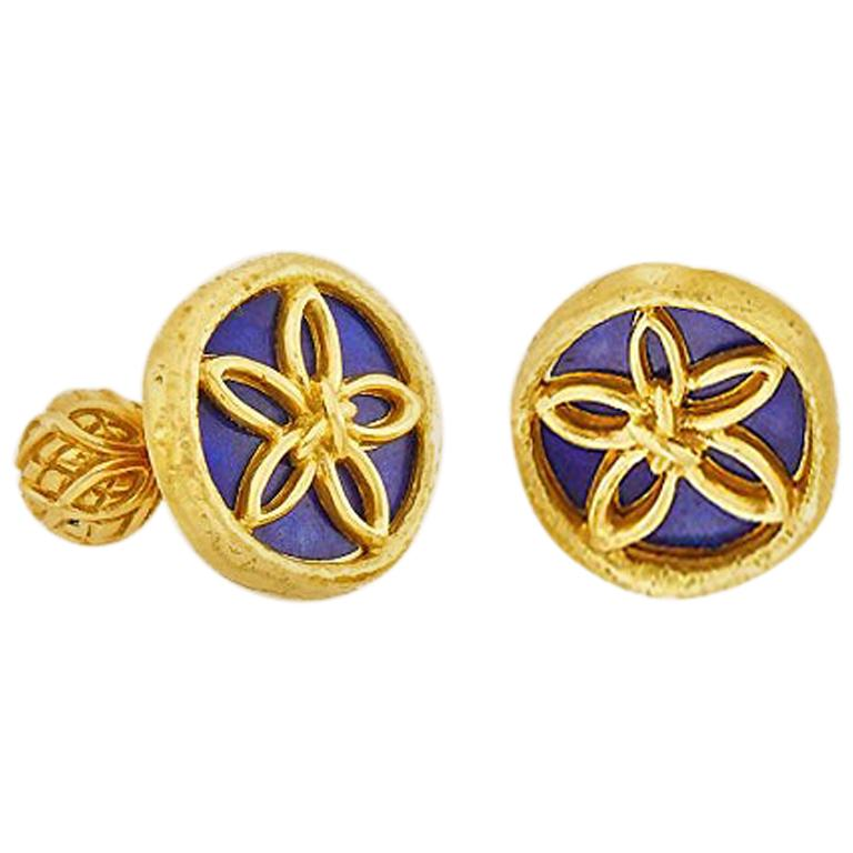 Schlumberger for Tiffany & Co. 18k Gold & Lapis Sand Dollar Cufflinks