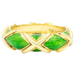 Schlumberger for Tiffany & Co. 18k Gold 'X' and Green Enamel Design, circa 1960s