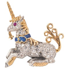 Schlumberger for Tiffany & Co. 18k Yellow Gold, Diamond and Lapis Unicorn Lapel