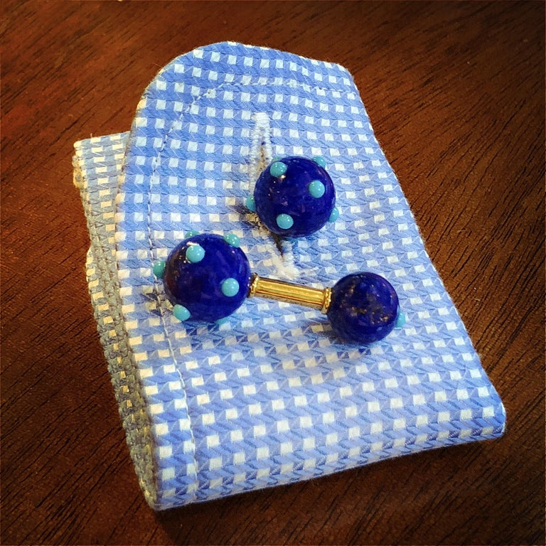 Schlumberger for Tiffany & Co. 1960s French Lapis Lazuli & Turquoise Cuff Links In Excellent Condition For Sale In New York, NY