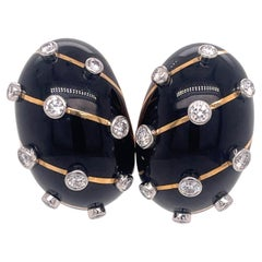 Schlumberger for Tiffany & Co. Diamond and Black Enamel Earrings