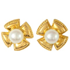 Schlumberger for Tiffany & Co. Gold and Pearl Earrings