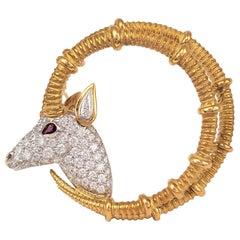 Schlumberger for Tiffany & Co. Gold Platinum and Diamond Ibex Ram Head Brooch