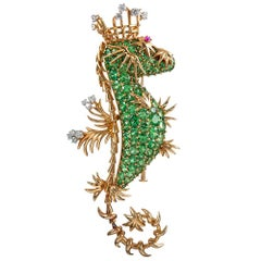 "Schlumberger for Tiffany & Co. Tsavorite Garnet ""Seahorse King"" Brooch"