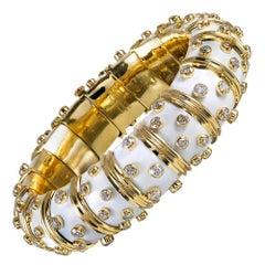 Schlumberger for Tiffany & Co. White Enamel and Diamond Bangle Bracelet