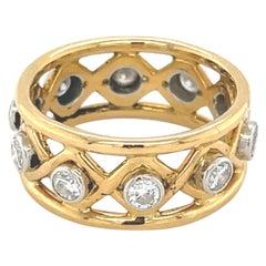 Schlumberger for Tiffany & Co. Yellow Gold Platinum Diamond X Ring