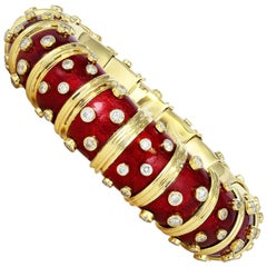 Schlumberger Red Enamel Bangle with Bezel Set Diamonds