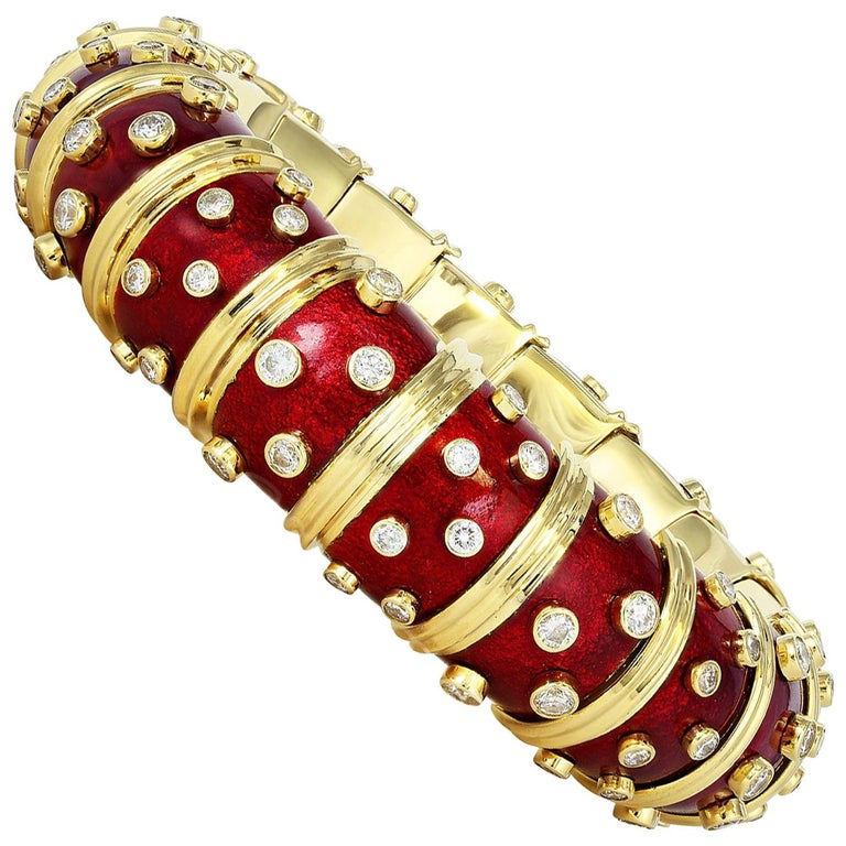 3eaeaaf5e Schlumberger Red Enamel Bangle with Bezel Set Diamonds For Sale at ...