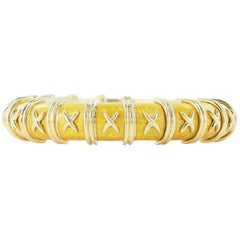Schlumberger Slim Golden Enamel Croisillon Bangle