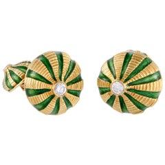 Schlumberger Taj Mahal Enameled 18 Karat Yellow Diamond Cufflinks