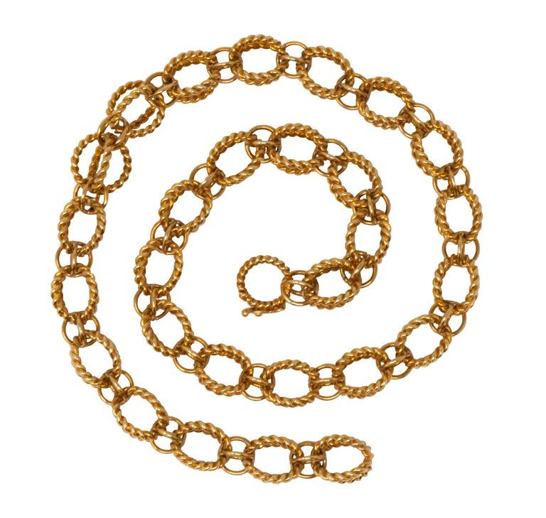 Women's or Men's Schlumberger Tiffany & Co. 18 Karat Gold Circle Rope Necklace For Sale