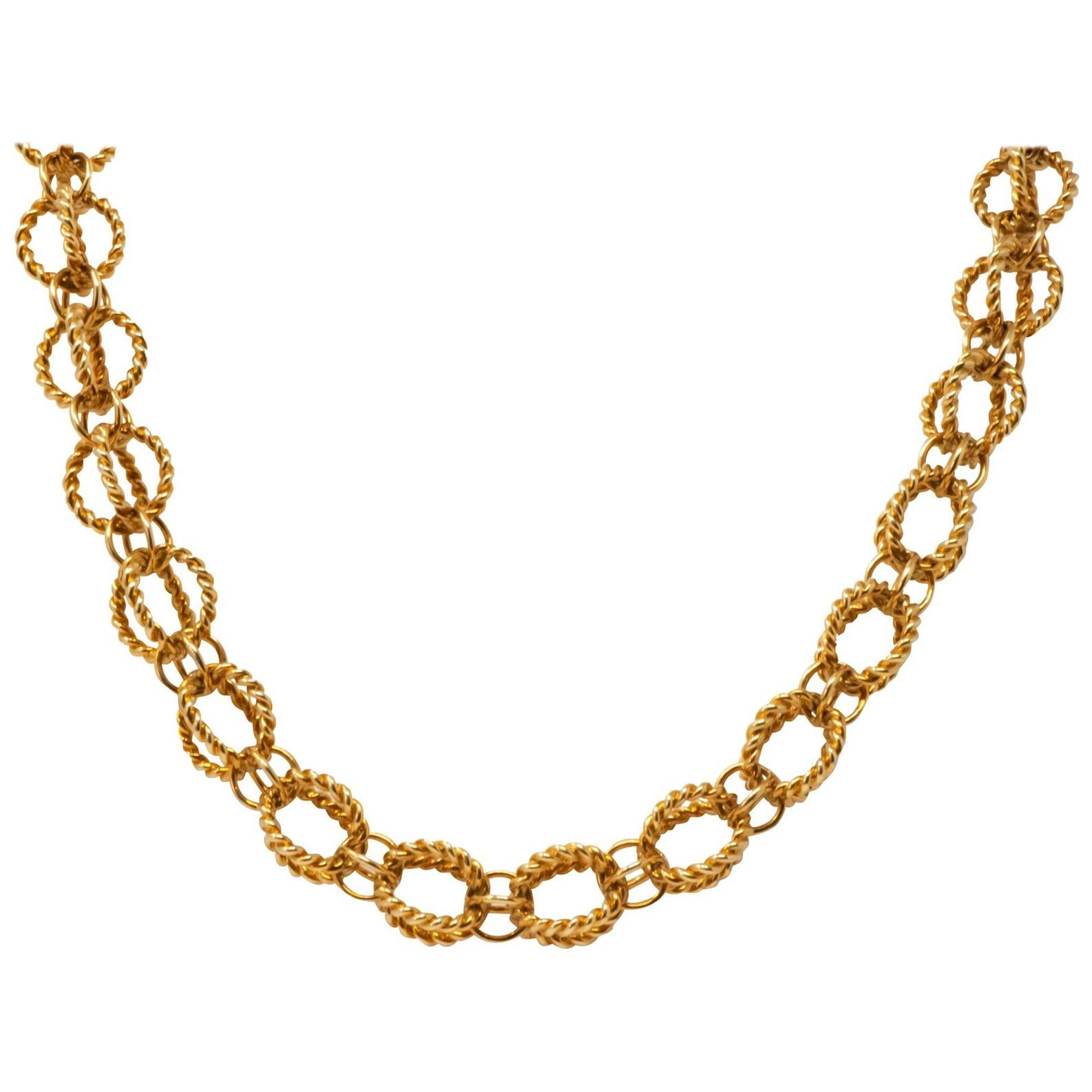 dc23a6c5f Tiffany and Co. Schlumberger Emerald and Gold Twisted Rope Necklace For  Sale at 1stdibs