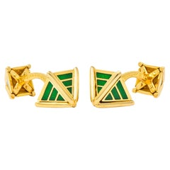 Schlumberger Tiffany & Co. Enamel 18 Karat Gold French Men's Cufflinks