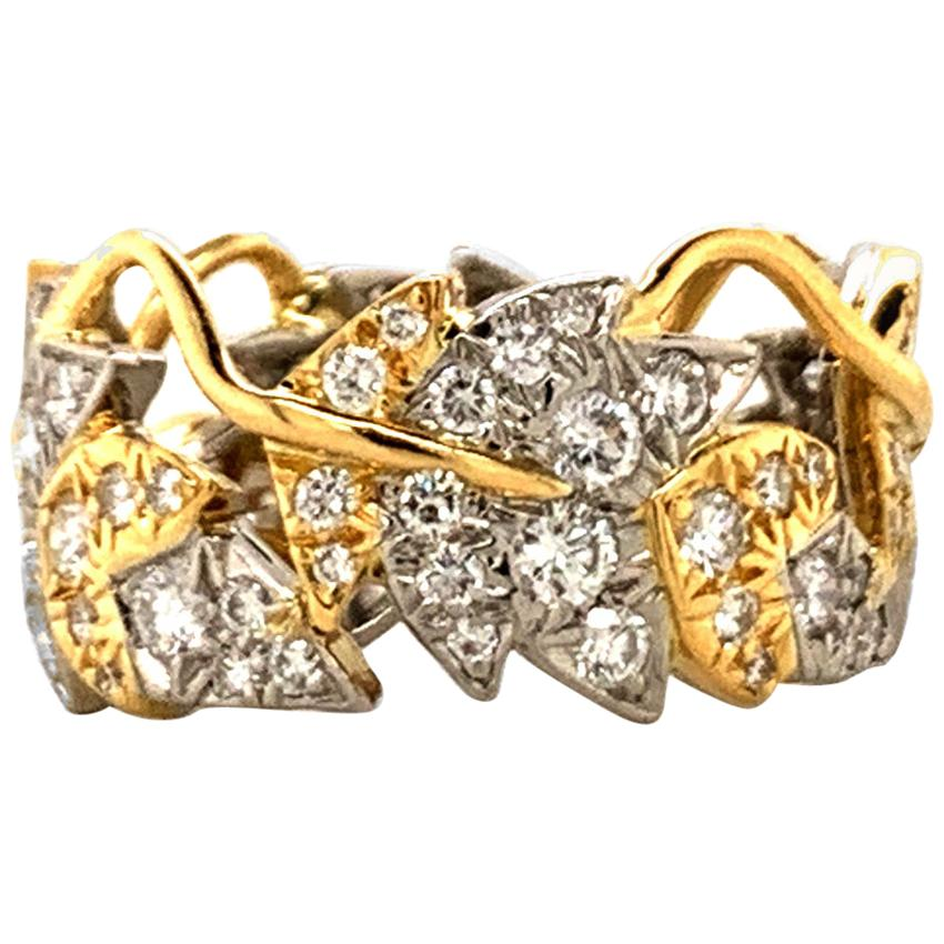 Schlumberger Tiffany & Co. Gold Diamond Four Leaves Ring