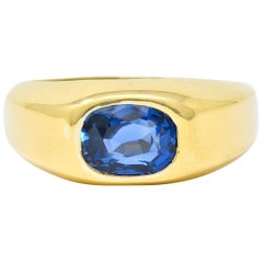 Schlumberger Tiffany & Co. No Heat Ceylon Sapphire 18 Karat Gold Unisex Ring