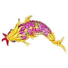 Schlumberger Tiffany & Co. Pink Sapphire Demantoid 18 Karat Dolphin Fish Brooch