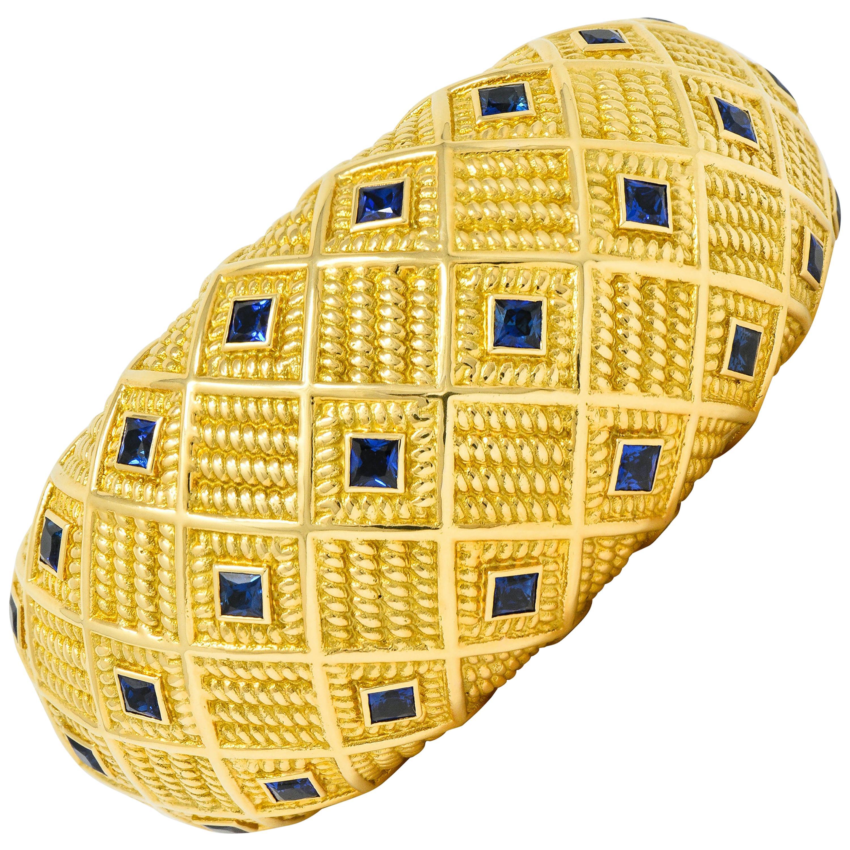 Schlumberger Tiffany & Co. Sapphire 18 Karat Yellow Gold Cuff Bracelet