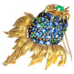 Schlumberger Tiffany Co. Sapphire, Emerald and Yellow Gold Thistle Brooch