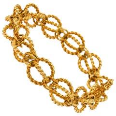 Schlumberger Tiffany & Co. Vintage 18 Karat Gold Circle Rope Link Bracelet