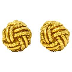 Schlumberger Tiffany & Co. Vintage 18 Karat Gold Men's Knot Cufflinks circa 1980