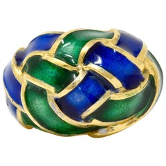 Schlumberger Tiffany & Co. Vintage Enamel 18 Karat Gold Woven Knot Ring
