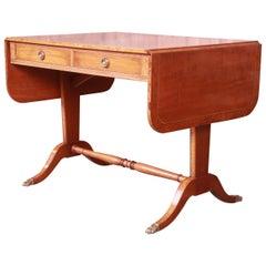 Schmieg & Kotzian Georgian Drop-Leaf Mahogany and Burl Wood Writing Desk