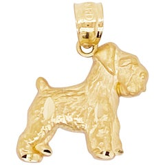 Schnauzer Dog Pendant, 14 Karat Yellow Gold, Dog Necklace, Pet Jewelry, Animal