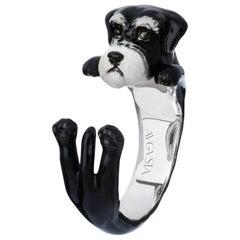Schnauzer Dog Sterling Silver 925 Enamel Customizable Ring