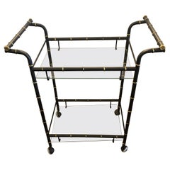 Schnazzy Hollywood Regency Faux Bamboo Black & Gold Vintage Bar Cart