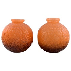 Schneider, France. Two Large Round Art Deco Vases in Orange Art Glass