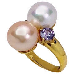Schoeffel 18 Karat Yellow Gold Pearl Ring with Pink and Lavender Sapphires