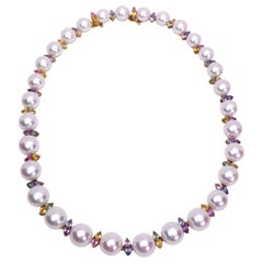 Schoeffel 18K Gold Freshwater Pearl Necklace with Multicolored Pear Sapphires