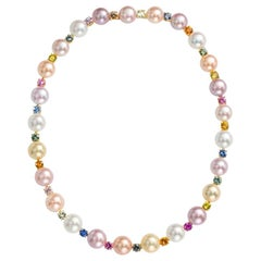 Schoeffel 18KT Gold, 13.51Ct. Multi-Color Sapphire and Freshwater Pearl Necklace