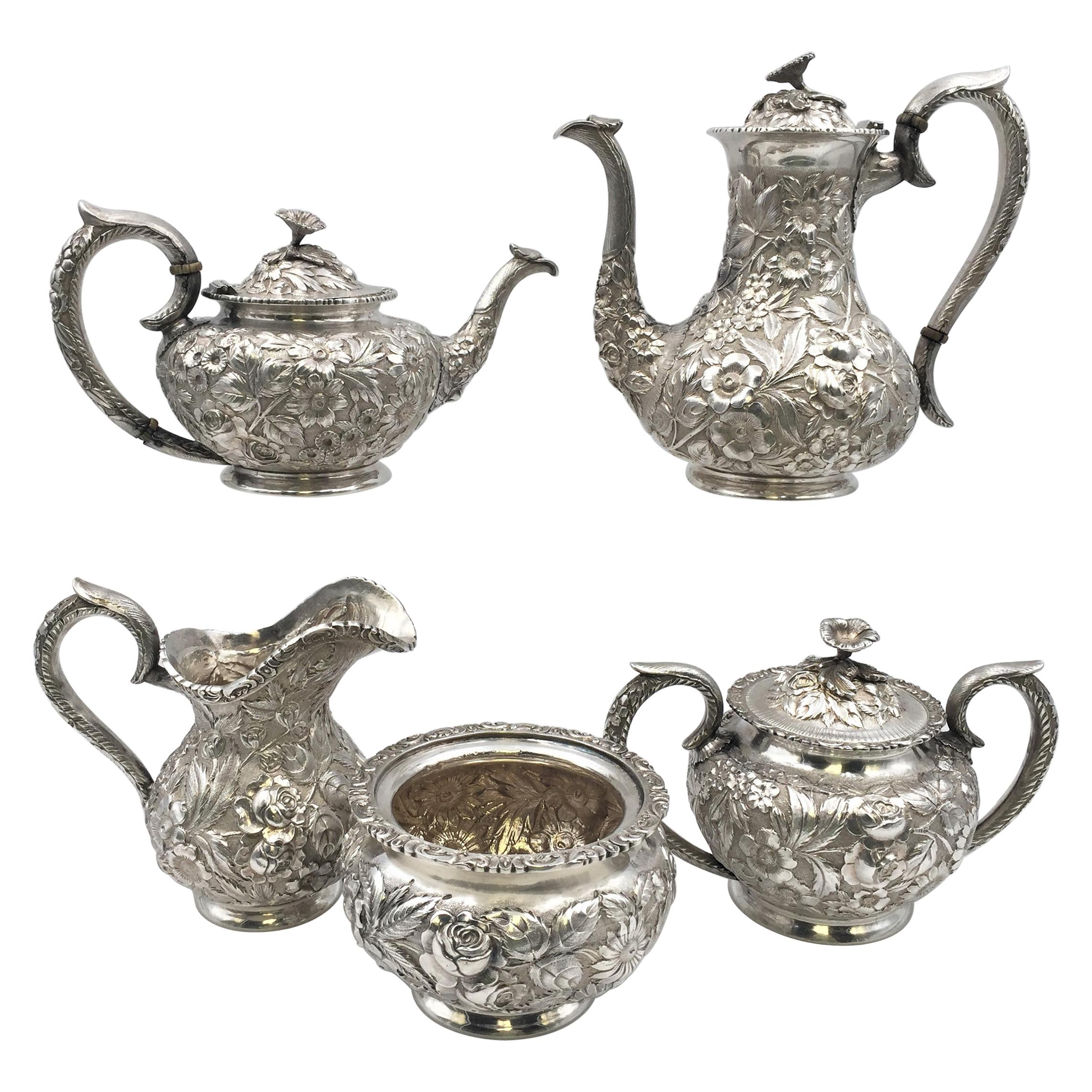 Schofield Sterling Silver Repousse 5-Piece Tea Coffee Set For City of Baltimore