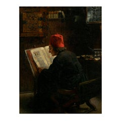 """Scholar Reading an Illuminated Manuscript"" Painting by August ""Claus"" Meyer"