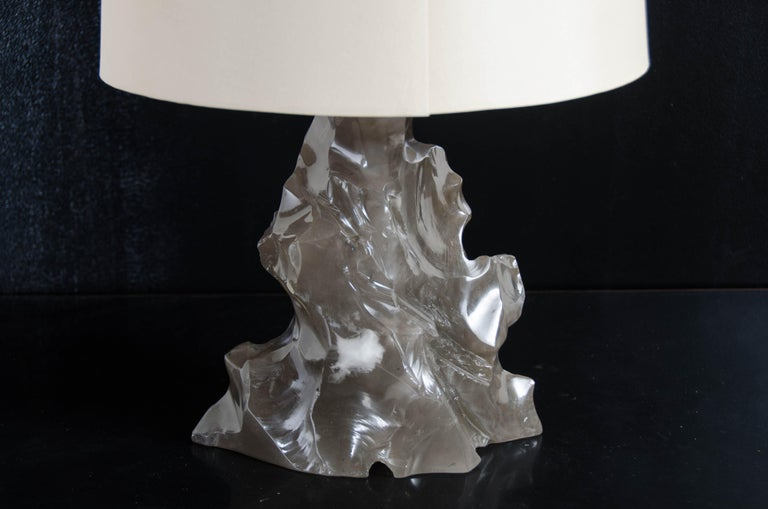 Scholar Rock Lamp, Smoke Crystal by Robert Kuo, Hand Repousse, Limited Edition In New Condition For Sale In West Hollywood, CA