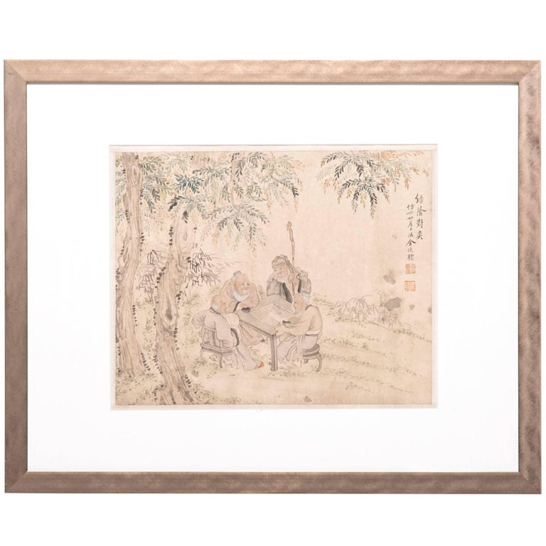 """Scholars' Game Beneath the Shade of a Tree"" Late 19th Century Chinese Painting"
