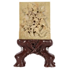 Scholar's Object Stone Calligraphy Screen on Root Form Stand