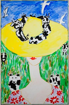 """Yellow Cow Hat,"" acrylic painting on canvas by Schomer Lichtner"