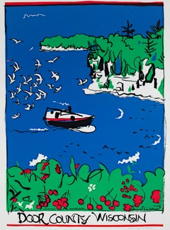 """Door County, Wisconsin,"" landscape silkscreen travel poster by Schomer Lichtner"