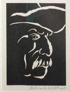 """""""Farmer,"""" Portrait Linoleum Cut signed by Schomer Lichtner"""