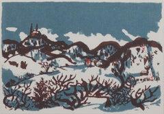 """""""Skiing Near Holy Hill,"""" original silkscreen landscape by Schomer Lichtner"""