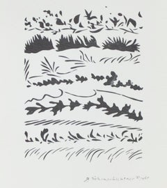 """""""Winter Silhouettes,"""" offset black & white lithograph by Schomer Lichtner"""