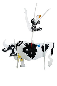 """Cow and Ballerina,"" Painted Wood Sculpture signed by Schomer Lichtner"